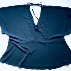 NWT Eloquii Navy Blue Peplum Tie Top Size 26/28